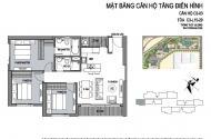 Bán căn hộ 90m, thiết kế 3 phòng ngủ, nội thất chủ đầu tư