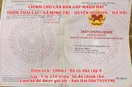 Chính Chủ Cần Bán Gấp Mảnh Đất Ở Thôn Thái Lai -Xã Minh Trí -Huyện Sóc Sơn -Hà Nội
